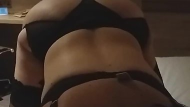 Wife in stockings at hotel
