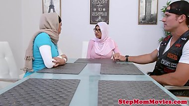 Muslim stepmom licking teen during doggystyle