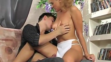 Hot blonde maid seduces guy