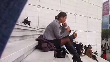 Siting On Stairs in Black Pantyhose and Boots