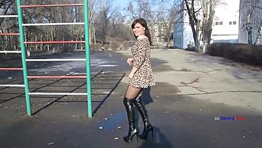 Milf in opaque patterned pantyhose and boots