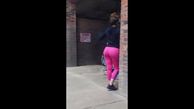 Mexican Teen In Skin Tight Pink Leggings