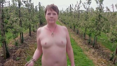 Small Titted Milf Suzy naked orchard walk part 2