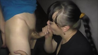 Milf sucks stranger in stairway and swallows cum