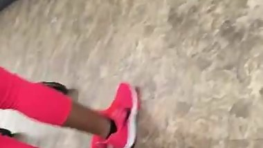 Phat Big Phat Ass Ebony Booty in PINK Leggings