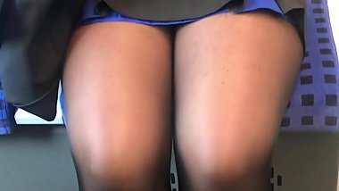 German MILF sexy black tights and mini skirt very hot