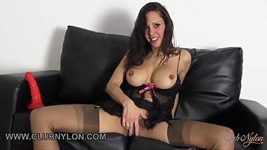 Dirty brunette slut fucks her toy in fully fashioned nylons