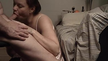 Spycam:MILF Wife Swallows Friends Cum:INTENSE Blowjob!