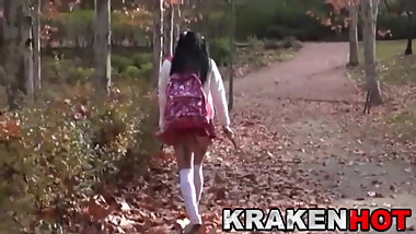 Voyeur scene with a schoolgirl at the park