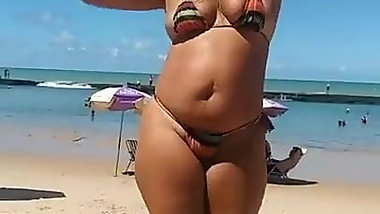 Crazy Dinha dancing micro bikini in a beach