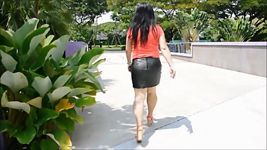 Milf in tight black leather mini skirt (mix)