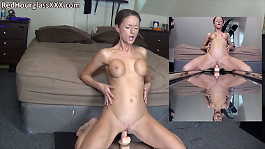 Athletic MILF Sammi fucks a mirror dildo